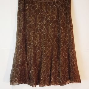 Anne Klein A Line Midi Skirt Brown Abstract Silk